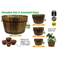 New 1pce Wooden Pots Round, Oval, Rectangle, Trolley Design Wine Barrel Planters