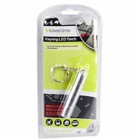1pce Travel Time, Keyring LED Torch, Batteries Included, 8cm, Silver/Steel Case