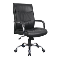 New 1pce Leather Office Chair Black Comfort Support Padded Design 12 Work Swivel