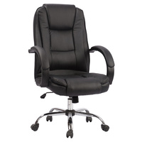 New 1pce Leather Office Chair Black Comfort Support Padded Design 13 Work Swivel
