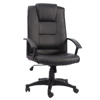New 1pce Leather Office Chair Black Comfort Support Padded Design 17 Work Swivel
