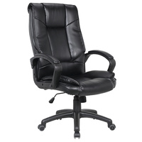 New 1pce Leather Office Chair Black Comfort Support Padded Design 18 Work Swivel