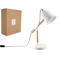 New 1pc Table Lamp White & Wooden Light Desk Office Décor Shade Bedside Home