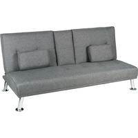 New 1pce 3 Seater Sofa Bed Lounge Grey Linen Couch Multi Function 2 Cup Holder