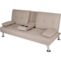 New 1pce 3 Seater Sofa Bed Lounge Beige Linen Couch Multi Function 2 Cup Holder