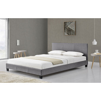 New 1pce King Fabric Bed Grey 183X203CM Luxury Room Design Déco Frame Head