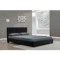 New 1pce King Leather Bed Black 183X203CM Luxury Room Design Décor Frame Matt