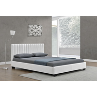 New 1pce King Leather Bed White 183X203CM Luxury Room Design Décor Frame Matt