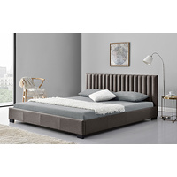 New 1pce King Fabric Bed Espresso 183X203CM Luxury Room Design Décor Frame Home
