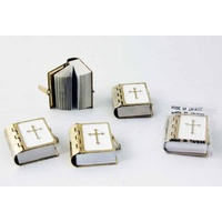 Miniature Brass and White Mini Church Bible 3.4cm x 3cm Religious Book