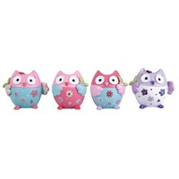 Complete Set of 4pce x Flower Power Owls - 4cm. Miniature In Pastel Colours