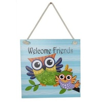 20cm BLUE Owl MDF Wall Plaque / Sign - 'Welcome Friends' Hangable