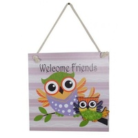 20cm PURPLE / PINK Owl MDF Wall Plaque / Sign - 'Welcome Friends' Hangable