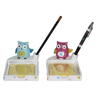 14cm Flower Owl Sticky Note Pad with Pen/Pencil Holder, Office School Stationery