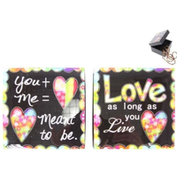 "9x9cm Black Love Trinket Box ""Love as long as you Live "" Coloured Love Heart"