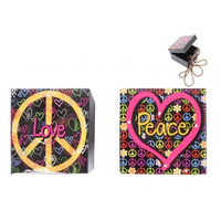 "16x16cm Epoxy \PEACE"" Trinket Box with Peace Symbol and Lots of Peace Symbols"""""""