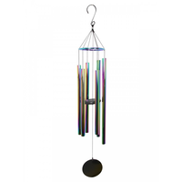 110cm Rainbow Effect Multi Coloured Windchime with 5 Tubes