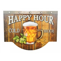 "40cm ""Happy Hour"" Bar Plaque / Sign, MDF, Man Cave"