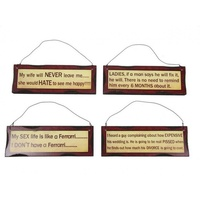 4pce 18cm x 6cm Novelty Wording Desk Plaque Wooden Assorted Quirky Sayings