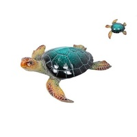 38cmx40cm Realistic Marble Coloured Turtle (Resin) Garden Ornament