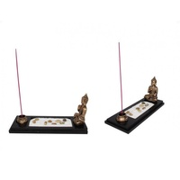 1pce 32cm Gold Buddha Incense Holder with Rocks and Sand