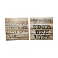 Set of 2 24x24cm Wooden Design with Black Wording MDF Plaque Wall Art, Great for Home