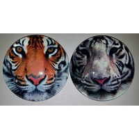 1pce 5cm Glass Tiger Magnet 2 Assorted Colours