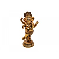 33cm Gold Resin Ganesh in Dancing Pose with Crown Tradional Look Gloss Finish