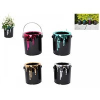 16cm Black Pot Plant with Metallic Paint Dripping, Novelty Paint Pot Style