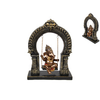 25cm Ganesh Swinging in Shrine, Metallic Statue Decor Piece