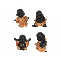 10cm Bronze Robed Cute Happy Fat Monks, Rare Colour & Cheeky