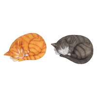 1pce 25cm Sleeping Cat Statue, Peaceful Memorial Collectable
