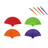 1pce Scented Colour Folding Hand Fan Wooden Detailing