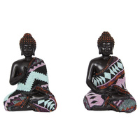 1pce 12cm Sitting Buddha Figurine with Tribal Cloth Robe