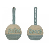 1x 16cm White and Blue Rope Hanging Ball with Blue Wording, Two Designs