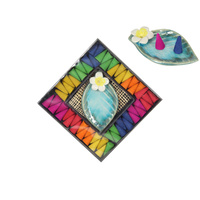 Rainbow Cone Incense Gift Pack with Frangipani / Leaf Holder