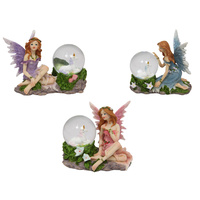 1pce 10cm Fairy with Crystal Ball Unicorn Feature, Fairy Garden Collectable