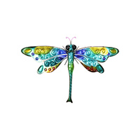 65cm Multi Coloured Metallic Dragonfly Wall Art Metal