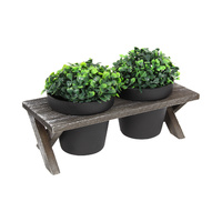 27cm Wooden Novelty Garden Pot Pair Holder, Picnic Bench Design