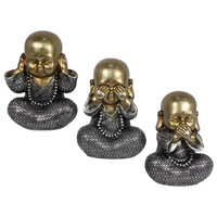 16cm Fat Buddha Monk Figurine in Hear, Speak, See No Evil Poses