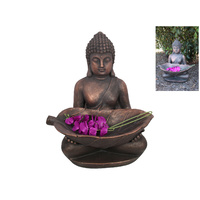 New 1pce 68cm Bronzed Rulai Buddha Holding Leaf Resin Outdoor Home Decor