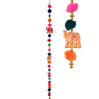 140CM Lucky Elephant Pompom Hanger hanger, bright colours home decor