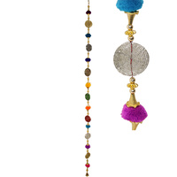 137CM Pompom Hanger with metal disk hanger, bright colours home decor