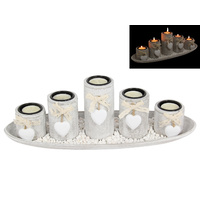 38cm Shabby Chic 5pce Candle Holder Set with Heart Features