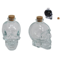 9cm Clear Glass Skull Shaped Decanter with Cork Top