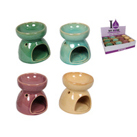1pce 8cm Ceramic Colour Oil Burner with Flower Design