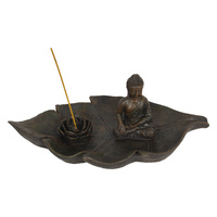 40cm Buddha Zen Incense Holder on Leaf Garden Style