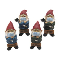 1pce 25cm Gnome with Face Mask Pandemic Themed Funny Saying Resin Outdoor Garden Decor