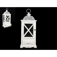 White Lantern Wooden with Metal Roof Candle Holder Indoors or Outdoors