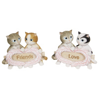 New 1pce 10cm Wide Twin Cat Inspirational Figurine Resin
